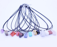 Wholesale Quartz Stone Pendant - 20Pcs Mixes Color New Fashion Natural Quartz Crystal Stone Pendant Necklace Jewelry Chain Length 45cm 2017 Jewelry
