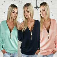Wholesale Cardigans Style For Women - New Style Autumn Hoodies With Sexy Deep V Zipper Collar Bat Long Sleeve For Female Casual Thin Coat Free Shipping