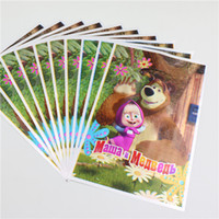 Wholesale Happy Birthday Bear - Wholesale-20pcs lot masha and bear gift bag decor party lovely loading gift for kids happy birthday party decoration supplies child favor