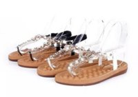 Wholesale Rhinestone Beaded Flat Sandals - High Quality Sandals Women Elastic Flats Flip Flops Summer Shoes Beach Beaded Rhinestone Bohemian Gladiator Sandals Women 36-41