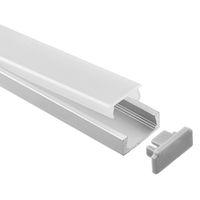 cubierta de perfil de tira de led al por mayor-perfil de aluminio led, 1m por pieza, perfil de extrusión de aluminio LED para tiras LED con cubierta difusa lechosa o cubierta transparente SN1506N
