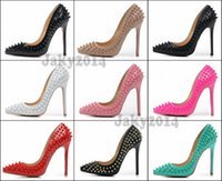 Sexy Ladies High Heels Spikes Zapatos 12cm Remaches Studded Zapatos de vestir Mujeres y niñas Hot Sell Candy Spike Pumps