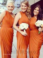 sonbahar portakal elbiseleri toptan satış-2017 Güz Bir Omuz Turuncu Nedime Elbise Resmi Onur Elbisesi Düğün Party Elbisesi Plus Size vestido de festa de casamento