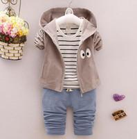 Wholesale Hooded T Shirt Pants - 2017 Autumn kids clothes boys long sleeve big eyes hoodies+T-shirt+pant set 3 pieces children clothes suit