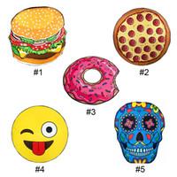 Wholesale Ice Cream Towels - Round Beach Towel Pizza Hamburger Skull Ice Cream Strawberry Smiley Emoji Pineapple Watermelon Shower Towel Blanket Shawl 0711017