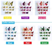 Wholesale Pink Butterfly Crafts - Three-dimensional simulation of 3 d wall stickers refrigerator curtain decorative butterfly crafts stocks mixed size mixed color random