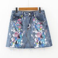 Wholesale Short Skirt Jeans Women - Women Summer Denim Skirt Fashion Streetwear Mini High Waist Chic Graffiti A-line Jeans Short Skirts Casual Pockets Female Skirts