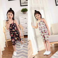 Wholesale Ladies Summer Overall - Baby Girls Hot Selling 2 colors Printing flower Jumpsuit Fashion beautiful Strappy Summer Backless Little Lady Overalls