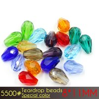 Wholesale Crystal Drop Loose Beads - A5500 Teardrop Beads Austrian crystal beads 60pcs High quality 8x11mm drop shape glass crystal Loose beads Special Colors for jewelry making