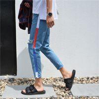 Wholesale Uk Street Style - High Street Kanye West Europe UK United States Jeans Side Scarf Knee Knee Horns Jigsaw Pants