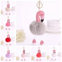 Wholesale Purse Charms Keychain - 14 Colors 8cm Flamingo Keychains Pendant Women Bag Purse Keychain Key Holder Chuzzle Charm Handbag Car Pendant Accessories CCA7175 50pcs