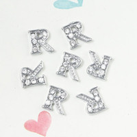Wholesale Initial Charms Letter S - Wholesale- free shipping 20pcs lot floating R initial letter with rhinestone charms S-18