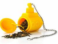 Wholesale Submarine Tea - 100pcs lot Fast shipping Yellow Submarine Silicone Tea Infuser Reusable Tea Strainer Loose Tea Leaf Filter