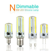 Wholesale e12 led globe bulb - Led Light G9 G4 Led Bulb E11 E12 14 E17 G8 Dimmable Lamps 110V 220V Spotlight Bulbs 3014 SMD 64 152 Leds light Sillcone Body for chandeliers