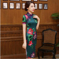 Wholesale Chinese Wedding Dress Top - 2017 top quality chinese VINTAGE lotus qipao wedding Flowers Print Cheongsams long cheongsam party dresses qipao