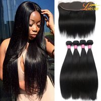 Wholesale Straight Brazilian Lace Closure - Brazilian Virgin Hair Straight with lace Frontal 4Pcs Ear to Ear Lace Frontal Closure straight Virgin Hair 13x4 Frontal With Bundles Deals