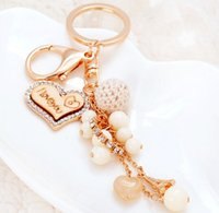 Wholesale love tag key chain with diamond Acrylic beads pendant creative key ring pendant elegant handbag decorations