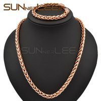 Wholesale Gold Filled Womens Necklace - 7mm Mens Womens Jewelry Gift Wheat Link Chain Rose Gold Filled Necklace Bracelet Set C02 RS