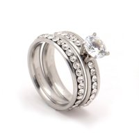 Wholesale stainless steel wedding rings sets - 2017 design stainless steel pave white zircon 4mm party ring sets for women jewelry