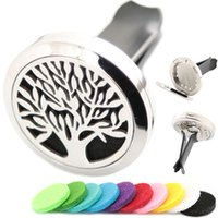 Wholesale tree life family gifts - AMYA Family Silver Tree of Life 30mm Diffuser 316 Stainless Steel Car Aroma Locket Essential Oil Car Diffuser Lockets Free Pads