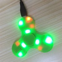 Wholesale Light Up Adult Toys - bluetooth fidget spinner led music hand spinner light up fidget spinners handspinner trangle EDC decompression toy for kids adults hot