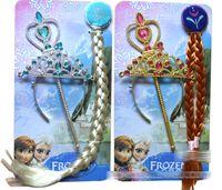 Wholesale Halloween Tiaras - Frozen Crown Girls Elsa Anna Crown Headband+Magic Wand+wag 3pcs Sets Halloween Cosplay Costume Accessories Queen Tiaras Princess Hair Sticks