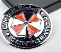 Wholesale Carbon Fiber Umbrellas - Car styling 3D Aluminum alloy Umbrella corporation car stickers Resident Evil decals emblem decorations badge auto accessories