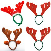 Wholesale Dresses Ornaments - Wholesale-Christmas Reindeer Antlers On Headband For Christmas Fancy Dress Adult Kids Gift Decoration Supplies