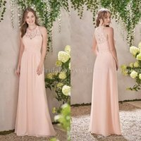 Wholesale peach long wedding dresses - 2018 A Line Chiffon Peach Bridesmaid Dresses Lace Bodice Jewel Neck Zipper Back Maid of Honor Gowns Cheap Wedding Guest Dress