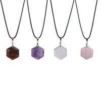 Wholesale Tiger Crystal Necklaces - 2017 New Crystal Quartz Necklace Leather Chains Natural Amethyst Tiger Eye Rose Quartz Pendant Necklace Coll Christmas Gift