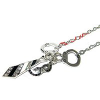 Wholesale Masquerade Charms - 12pcs 50 SHADES OF GREY Handcuffs Necktie and Masquerade Mask Charm Necklace