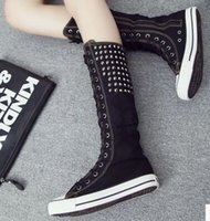 Wholesale E Step - New Arrival Hot Sale Specials Super Fashion Influx Martin Noble Canvas High Step Lace Up Elegant Rivets Punk Casual Knight Boots EU35-43