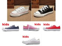 Wholesale High Tops Kids Canvas - Free shipping kids shoes Boy&girl Children's Canvas Shoes kids Cute Leisure Sports Shoes low & high top Rubber Bottom 5 colors size 24-34