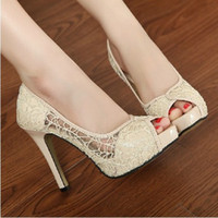 Wholesale Rubber Fishing Nets - Summer new women 's sandals breathable hollow net shoes Korean fine fish mouth sandals high heels shoes