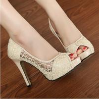 Wholesale Sandal Women S - Summer new women 's sandals breathable hollow net shoes Korean fine fish mouth sandals high heels shoes