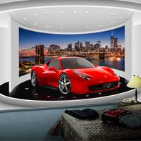 duvar posteri arka planı toptan satış-Toptan-Özel Herhangi Bir Boyut 3D Spor Araba Posteri Fotoğraf Kağıdı Oturma odası Çalışma Odası TV Arkaplan Duvar resmi Duvar Kağıdı De Parede 3D
