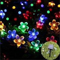 ingrosso fiori di giardino solare potenza-Solare 50 LED 7M Peach Flower Solar Power Lampada LED String Fairy Lights Solare Ghirlande da giardino Decorazioni di Natale per esterni