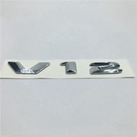 Wholesale Bmw V12 - New Chrome V12 Emblem Badge Logo Decal For Mercedes benz AMG Audi BMW V12 Replaces OEM