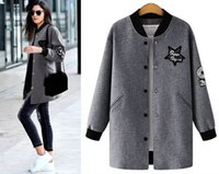 Wholesale Sequin Jackets - women plus size baseball jacket Europe America style fashion coat open stitch loose outerwear XL-4XL 2colors