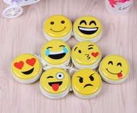 Wholesale Small Boxes For Jewelry - New scale iron round tin cute emoji Storage Box for Jewelry, Small Thing Organizer Storage Boxes zero wallet earphone box GG35