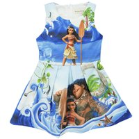 Wholesale Children Cotton Vests - Girl Moana Princess dress 2017 New Children high quality cartoon moana sleeveless vest dresses clothes 2-8 years B001