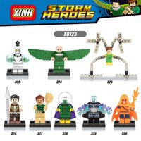 Wholesale Bat Superman - 120pcs Mix Lot Super Heroes Minifig Doctor Octopus Spider-Man Superman Captain America Condor Bat Figure X0123 Mini Building Blocks Figures