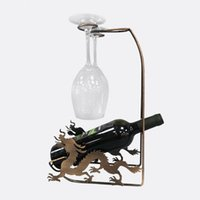 Wholesale Wholesalers Iron Wine Holders - Wine Rack Retro Dragon shape Bar Iron Art Wine Shelf Wall Holder Single bottle Europe Style Creative Leaves vine Design decoration wholesale