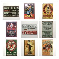 Wholesale rustic home decor - Tool Rules Magic Motor Oil Garage Prayer Toilet Rules Texaco Retro rustic tin metal sign Wall Decor Vintage Cafe Shop Bar home decor