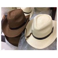 Wholesale Wholesale Leather Strap Hats - Unise Kids Cowboy Straw Sunhat With Leather Belt Children Jazz Hats Cowgirl Adjustable Chin Strap Caps For Boy And Girl