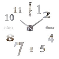 Wholesale New Design Wall Clock - Wholesale-2016 hot new Quartz clocks fashion watches 3d real big wall clock rushed mirror sticker diy modern design decor free shipping