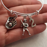 Wholesale customized unisex bracelets for sale - Group buy 12pcs Baseball bracelet with player glove and Customize number silver tone