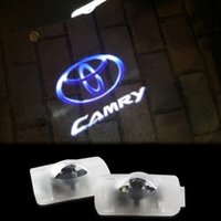 Wholesale Toyota Ghost Logo - 2x LED TOYOTA Camry Car Door Logo Light HD brightness 3D Ghost Shadow Courtesy Laser Projector Welcome Lamp bulb