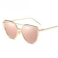 Wholesale Sun Glasses For Boys - Vintage Lady Rose Gold Cat Eye Sunglasses Women Brand Design Twin-Beams Optical Eyeglasses Frame Men Sun Glasses For Female