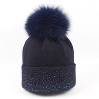 Wholesale red curls - High Quality Bling diamond wool hat ladies autumn and winter fox fur ball curling knitting cap tide wild outdoor warm hat